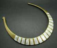 Vintage BRASS GOLD TONE Collar Necklace WHITE MOTHER OF PEARL INLAY Egyptian