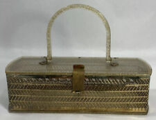 Vintage Mid Century Lucite & Gold Metal Box Hand Bag Purse Glitter Art Deco USA