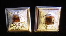 Vintage Mid-Century Modernist CERAMIC Insert Gold Spatter CUFFLINKS,fjt