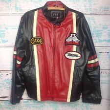 Fox Indiana Racing Black Red Leather Jacket Mens 4X Big Tall Biker Moto
