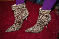Manolo Blahnik Boots Ankle Pumps Haircalf Leopard Buckle size 40.5