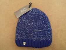 NEW SPYDER WOMENS SHINE MODEL SKI BLUE BLING SNOWBOARD BEANIE HAT METAL LOGO