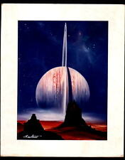 SATURN ON EDGE - SPACE PAINTING ART PHOTO PROOF, SIGNED BY ARTIST. NM!
