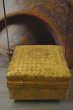 Aufbewahrungs Box Kiste Schachtel Bali Bambus geflochten Natur/Gold 28x28x21cm