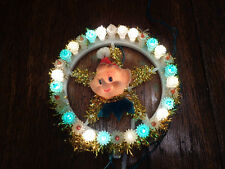 ADORABLE VINTAGE PIXY ELF TREE TOPPER W/FLASHING BLINKING LIGHTS WORKS WELL