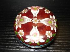 PIGEON BLOOD RED CLOISONNE GINBARI ENAMEL FLORAL TRINKET BOX