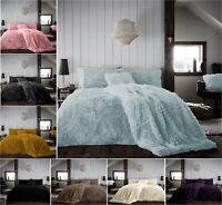 HUG & SNUG Teddy Fleece Fluffy Duvet Quilt Cover +Pillow Case Warm Cosy Bed Set