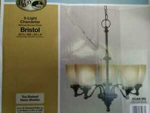 Bristol 5-Light Nutmeg Bronze Chandelier with Tea-Stained Glass Shades by Hampto