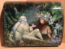 RUSSIAN LARGE LACQUER BOX FOREST FAIRY TALE PALEKH ELF HAND PAINTED VERY RARE RU