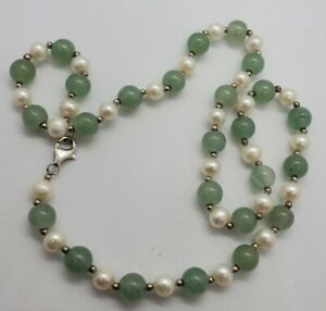 """Nice Sterling Silver Pearl And Green Jade Necklace 17"""" Long"""