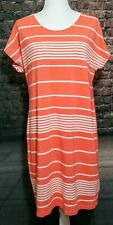 Land's End Cotton T Shirt Dress Coral White Horizontal Stripes Size M (10-12)