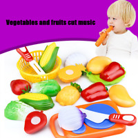 12PC Kits Cutting Fruit Vegetable Pretend Play Children Kid Educational Toy US