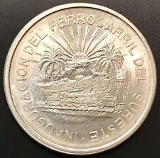 1950 Mo Mexico 5P Railroad Commemorative Cinco Peso Mexican Silver Coin