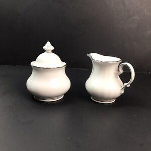 Winterling Bavaria-Germany China Sugar Bowl & Creamer Set White W/Silver Trim