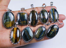 Hot Sale Natural 25 PCs Multi Tiger's Eye Gemstone Silver Plated Pendants