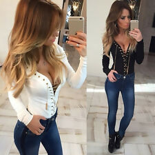 Fashion Women Long Sleeve Sexy V Neck Tie Bandage Bodysuit Tops Shirt Blouse