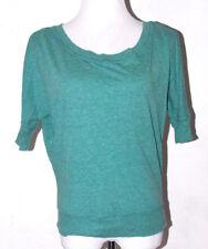 Papaya Womens Green Blouse Medium Cotton Blend Boat Neck Short Sleeve Casual