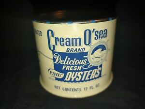 VTG CREAM O' SEA OYSTERS 12 OZ  TIN BLUE IVORY COLOR CLEAN TOP RUST FREE A+++