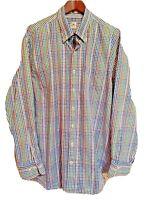 Peter Millar Mens Sz XL Shirt Brown Blue Green Plaid Check Long Sleeve Button