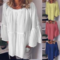 ZANZEA Women Cotton Bell Sleeve Shirt Tops Round Neck Loose Casual Blouse Plus