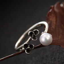 A02 Ring with Pearl and Clover Sterling Silver 925 Adjustable Size