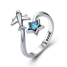 Plane & Star European 925 Sterling Silver Ring Adjustable Wrap Band Women Girls