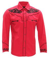 Cowboy Shirt Camisa Vaquera Western Wear El General Long Sleeve Red/Black