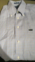 EUC FACONNABLE MENS BUTTONDOWN DRESS SHIRT BLUE PLAID 2X / XXL