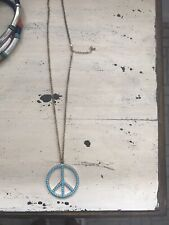 'Peace' Long Chain Necklace With Turquoise Stones