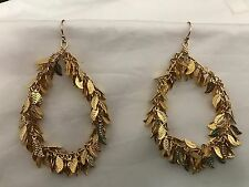 Nugaard Leaf Chain Loop Earrings GOLD Leaves MAR 24