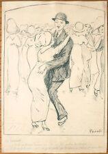 Dessin original de Domenico PICCOLI vers 1910 humour drague bal danse
