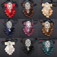 Retro Men Rhinestone Necktie Satin Ribbon Bow Tie Adjustable Wedding Party