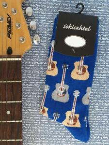 Mens Guitar Socks (Pair) Novelty Blue Guitar Socks