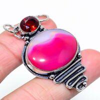 "Pink Lace Agate, Garnet Gemstone Handmade Ethnic Jewelry Pendant 1.97"""