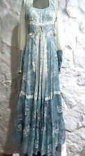 Vintage GUNNE SAX Sheer Blue Floral Cotton Festival Hippie  Prarie Dress Sz 9