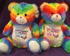 PERSONALISED rainbow baby mumbles teddy bear Gift Birthday Memory Newborn