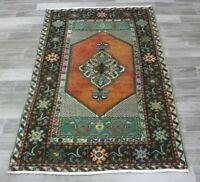 Turkish Vintage Unique Carpet Anatolia Hand Knotted Oushak Ethnic Area Rug 4x6ft