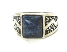 Sterling Blue Lapis Chip Embossed Zigzag Carolyn Pollack Ring 14mm Size 12