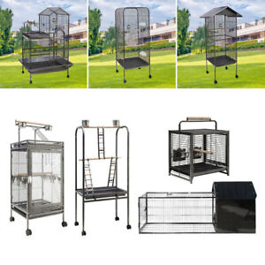 Large Bird Parrot Metal Cage Moving Budgie Lovebird Canary Play Aviary w/Stand