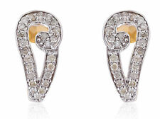 Pave 0.60 Cts Natural Diamonds Stud Earrings In Solid Certified 14K Yellow Gold
