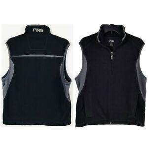 Ping Golf collection Men's Black Full Zip Fleece golf Vest Sz M