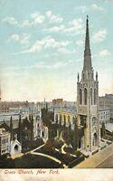 New York City~Birdseye Grace Church~City Skyline Behind~1908 Postcard