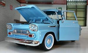 G LGB 1:24 Scale 1958 Chevrolet Apache Fleetside Pickup Diecast Model Blue 79311