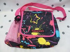 Tupperware Large Insulated Lunch Bag Pink & Black with Bottle Holder New