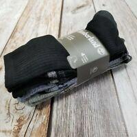 Timberland Comfort Cushioned Crew Socks Mens 4 Pack Black Blue Gray/Green New