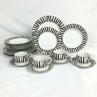 20 PIECE SET MIKASA MARQUEE BLACK DINNERWARE FOUR 5 PC PLACE SETTINGS
