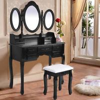 Shabby Chic Dressing Table Vanity Makeup Dresser Set 7 Drawers, 3 Mirrors, Stool