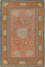 Vintage Chinese Orange, Cream and Gray Hand Knotted Silk Rug BB5626