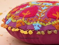 Round Embroidered Suzani Cushion Cover Indian Hippie Decor Pom Lace Pillow Case