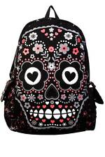 Sugar Skull Flowers Gothic Punk Emo Alternative Backpack By Banned Apparel